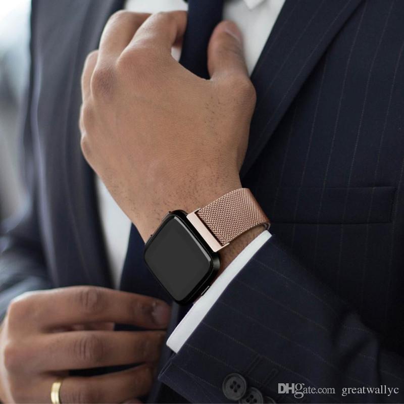 Fitbit Versa / Versa 2 Paslanmaz Çelik İzle Band Manyetik Kilit Bilezik Milanese Döngü Kayış Bilek Bandı Değiştirme