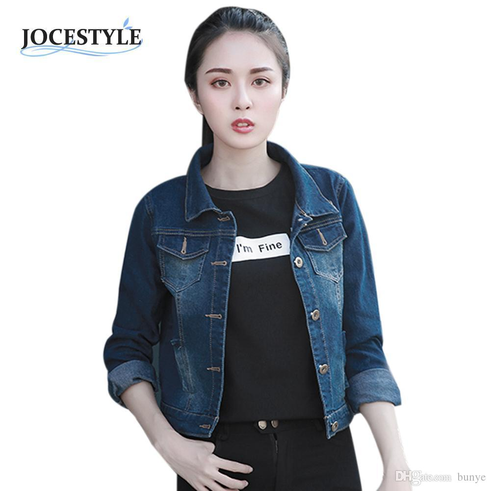46126dbd54 Wholesale Women Long Sleeve Denim Jacket Slim Spring Autumn Casual Short  Coat Vintage Ripped For Women Clothing Chaquetas Mujer Italian Leather  Jackets ...