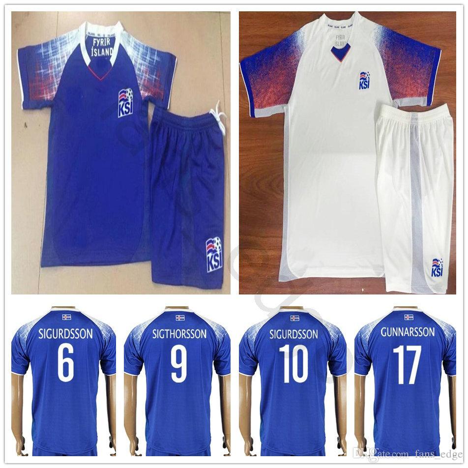 2018 Kids Iceland Soccer Jerseys 6 SIGURDSSON 9 SIGTHORSSON 17 GUNNARSSON  22 GUDJOHNSEN Customize Men Women Youth Boys Football Shirts Kits UK 2019  From ... 4af13a189
