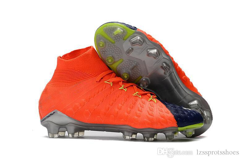 Original New High Ankle Top Football Boots Hypervenom Phantom III DF FG ACC Soccer Cleats HypervenomX Proximo TF IC Indoor Soccer Shoes Turf