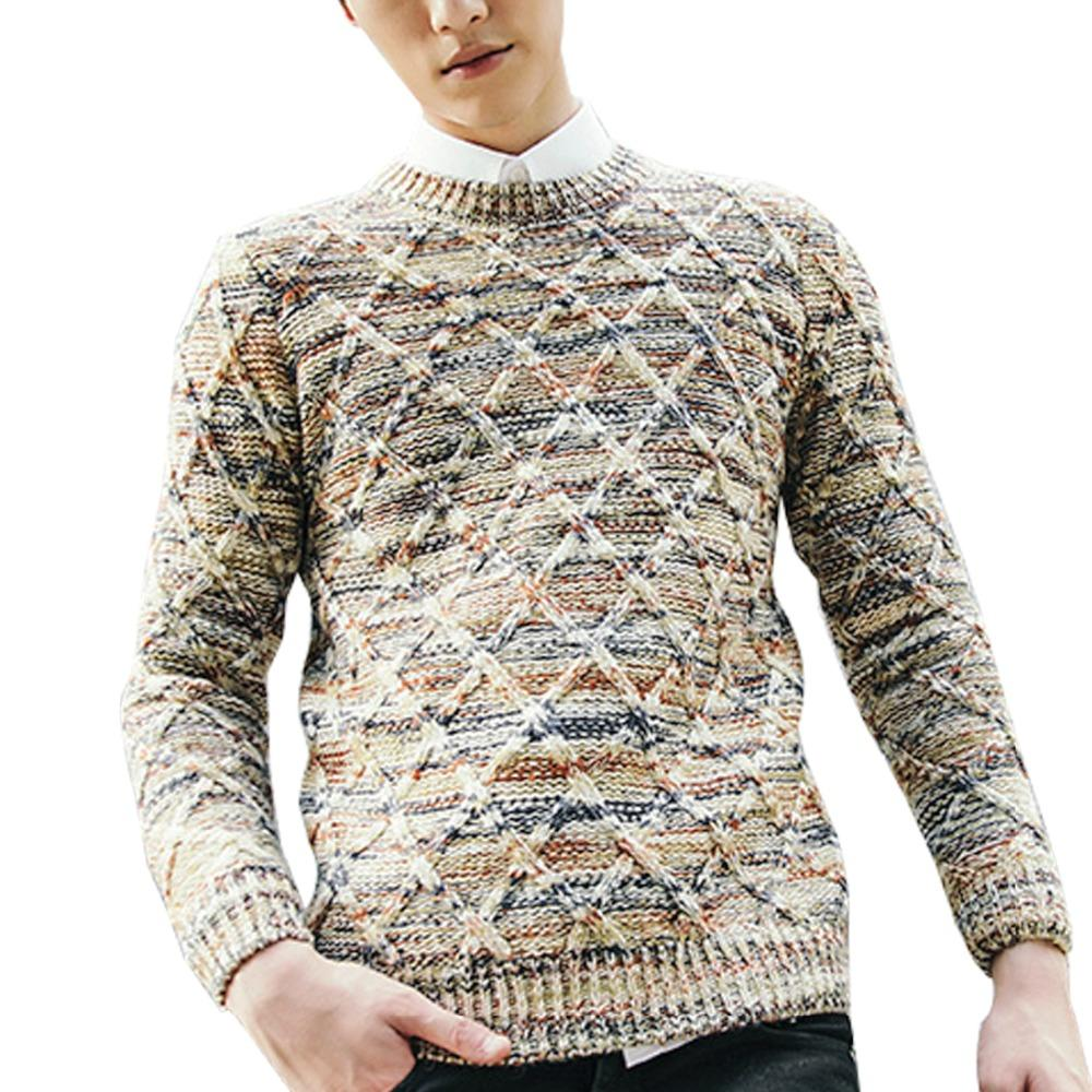 cheap for discount 310ea adfc9 Sidiou Gruppe Winter Pullover Männer Pullover Diamant Muster Strick  Rundhals Herren dünne Strickwaren