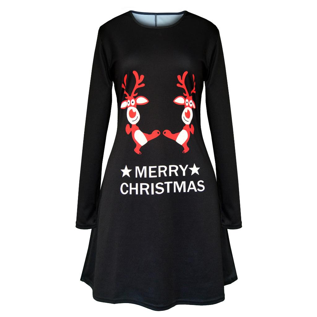 Casual T Shirt Dress Animal Print Going Out Dresses Long Sleeve Slim