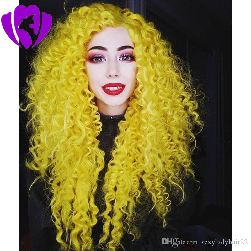 transparent lace yellow long kinky curly