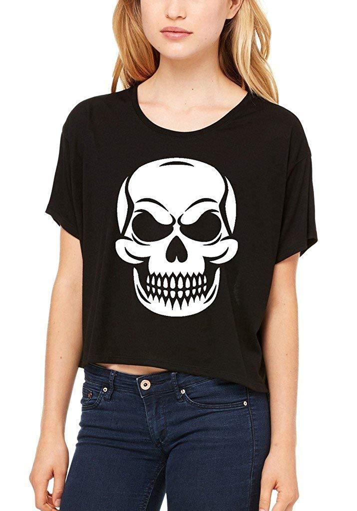 45213429e1c 2019 Shop4Ever Mean Skull Flowy Boxy T Shirt Skeleton Shirts 2019 Summer  Female T Shirt From Shitan10