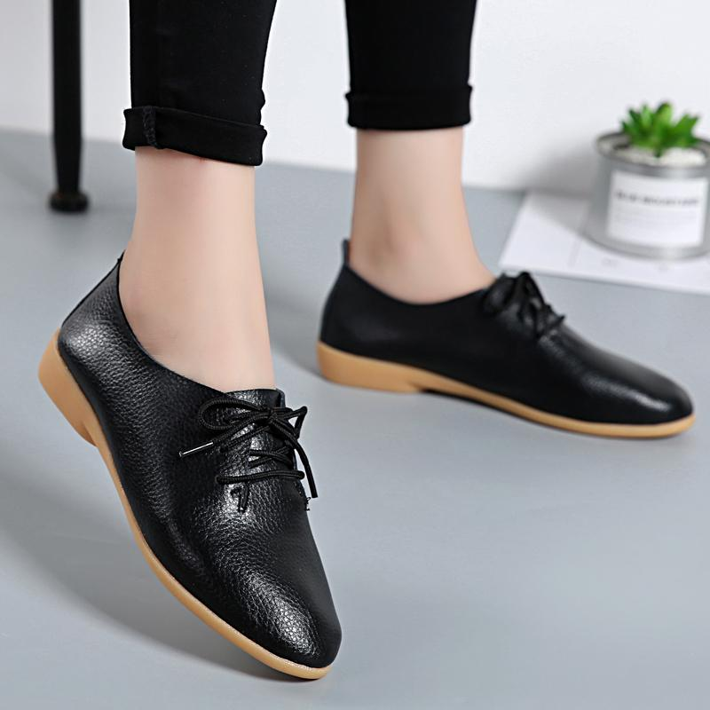 46baf51c6308 2019 Casual 2018 Women Fashion Flat Shoes Casual Genuine Leather Solid  Footwear Female Lace Up Ladies Flats Women S Shoes BTD700 Tennis Shoes  Ladies Shoes ...