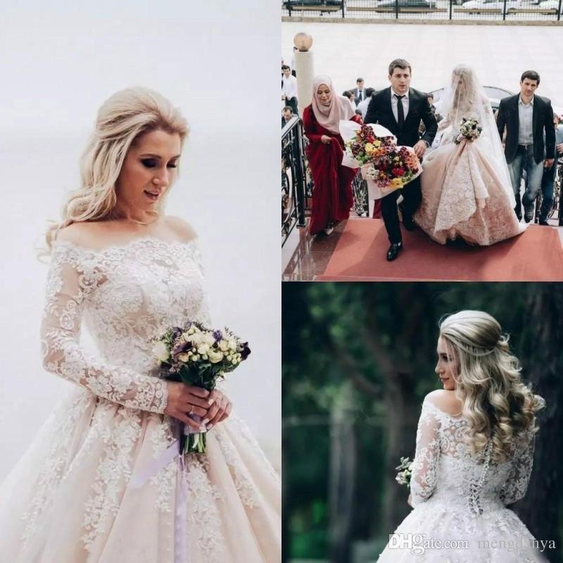 2018 Glamorous Long Sleeves Lace Ball Gown Wedding Dresses Bridal ...