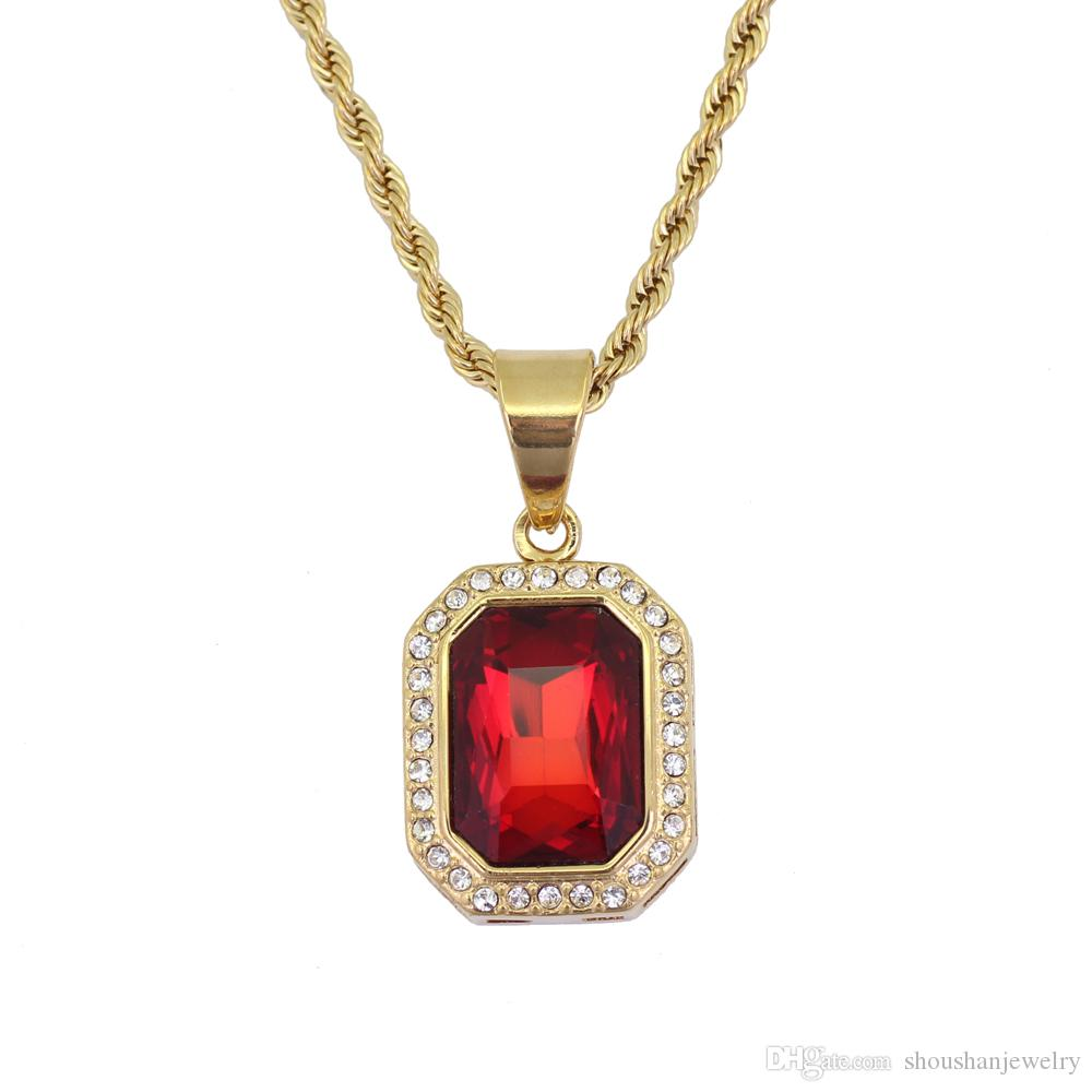 Stainless Steel Jewelry hip hop Ruby Stone Pendant Necklace with 3mm 24inch Rope Chain SN123