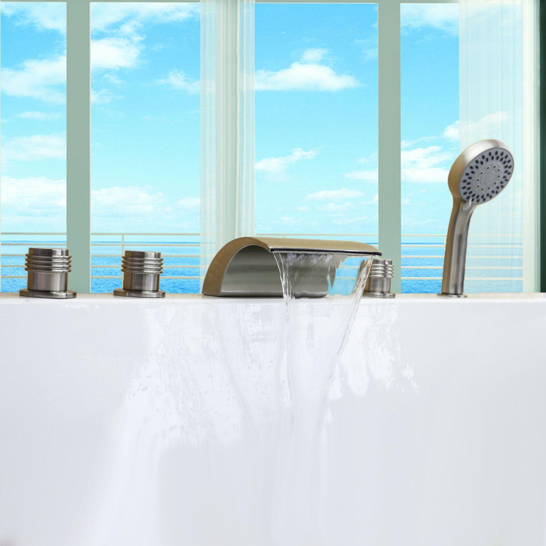 Brushed Nickel Tub Shower Waterfall Faucet Free Ship Roman Tub Bath ...