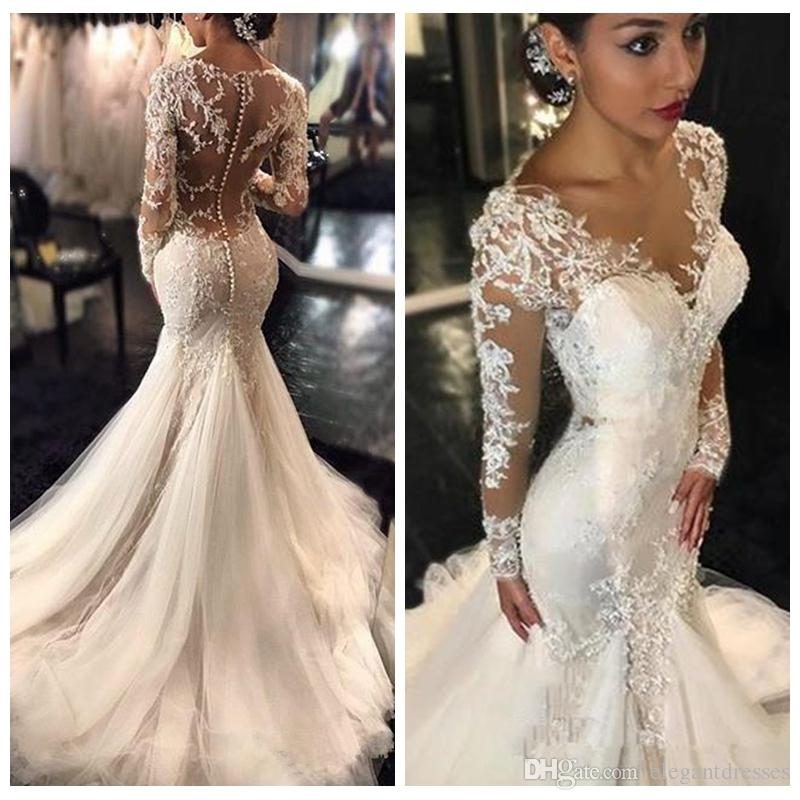 Discount 2018 Long Sleeves Lace Appliques A Line Wedding Dresses ...