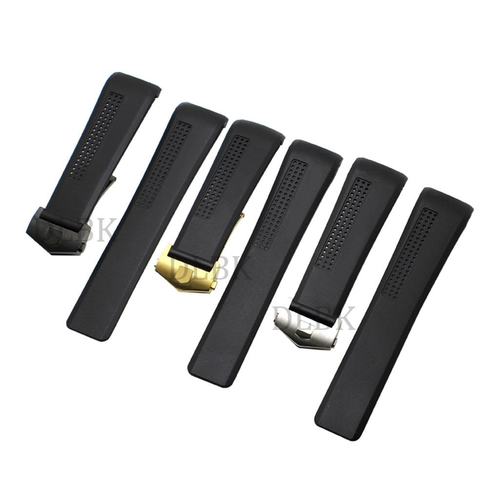 7d7dffff5fc Watch Accessories 24mm Black Hole Section Diver Silicone Rubber ...