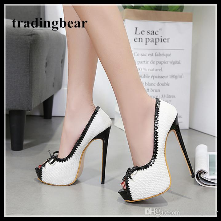 d81e0076f27 Sexy High Heels Bowtie Peep Toe Platform Pumps White Black Office Shoes  Size 35 To 40