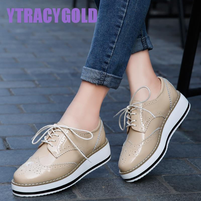d0955a7f078 Brand Women Platform Casual Shoes Woman Brogue Patent Leather Flats Lace Up  Footwear Female Flat Oxford Shoes For Women