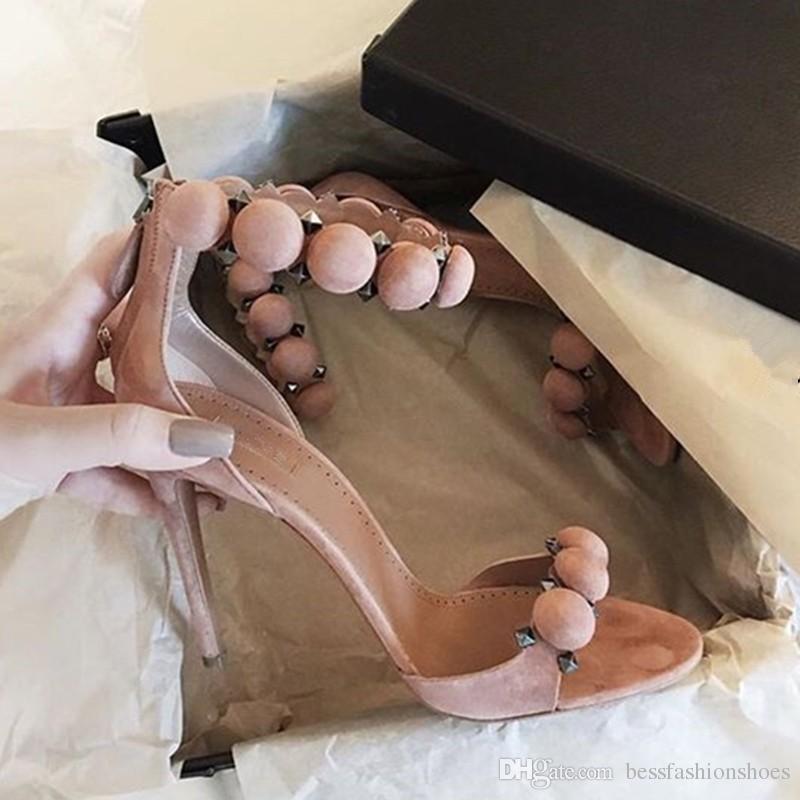 Red Nude Schwarz Blau Sommer 2018 Kim Kardashian High Heel Sandalen Wildleder T-Strap Frau Gladiator Sandalen Sexy Sommer Lady Party Kleid Schuhe