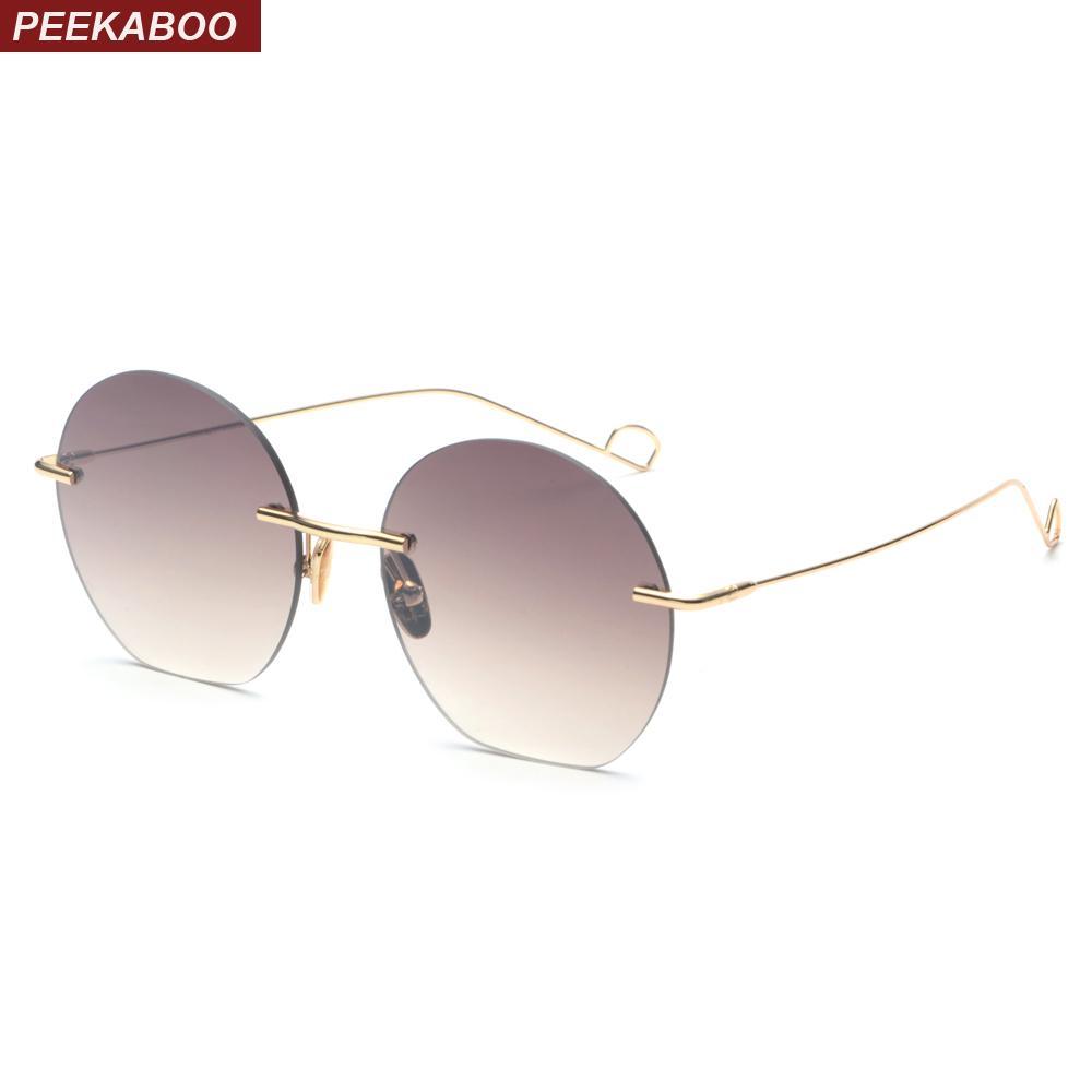 3efd52b62e Compre Peekaboo Gafas De Sol Sin Montura Redondas Mujeres Marrón Rosado  2018 Gradiente De Verano Gafas De Sol Redondas Para Las Mujeres Damas Uv400  A $35.31 ...