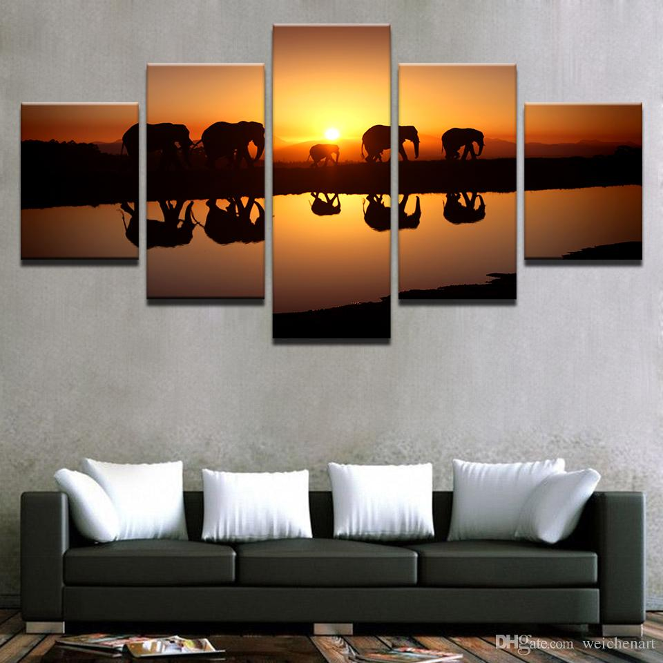 Canvas Poster Home Decor Living Room Wall Art Prints Elephants Sunset Landscape Paintings Animal Lake Pictures Framework