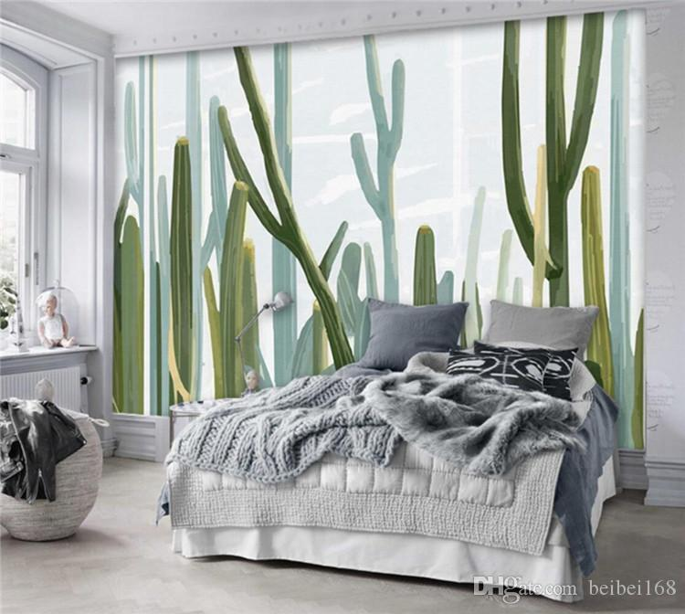 European style living 3d wallpaper cacti plant wall mural photo wallpaper bedroom wall paper - Quadro camera letto ...