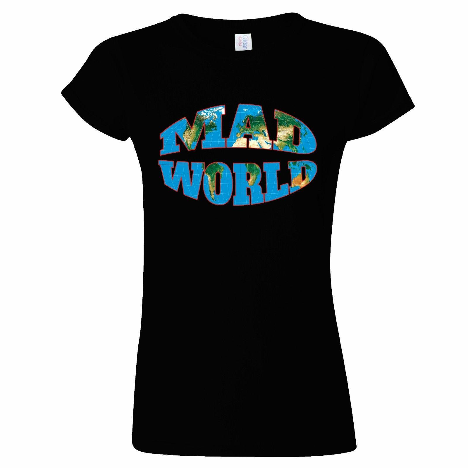 MAD WORLD DESIGN WOMENS T SHIRT MAP TRAVEL HOLIDAY GLOBE EARTH TRAVELLER PRESENT