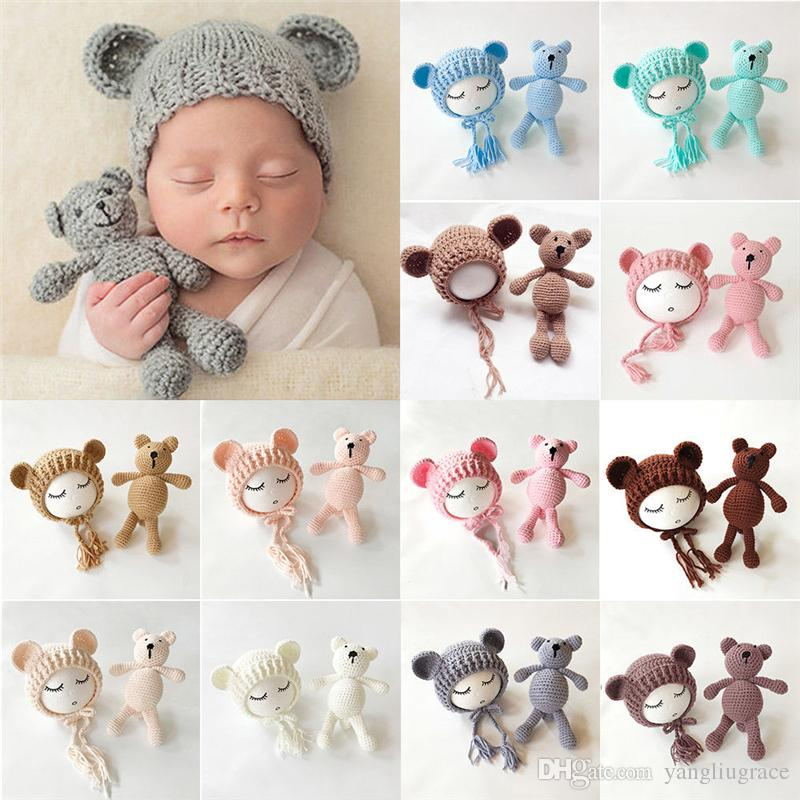 Baby Knit Beanie Cap+ Bear Toy 0-3M Newborn Baby Toddler infant Bear Photo Prop Photography Baby Knitted Cap