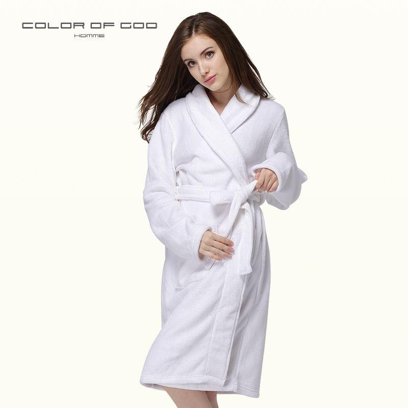 2019 Autumn Winter Warm Thick Coral Fleece Bathrobe Women Pure White Hotel  Nightgown Female Spa Long Kimono Bath Robe Night Gown From Tutucloth fa4a45305