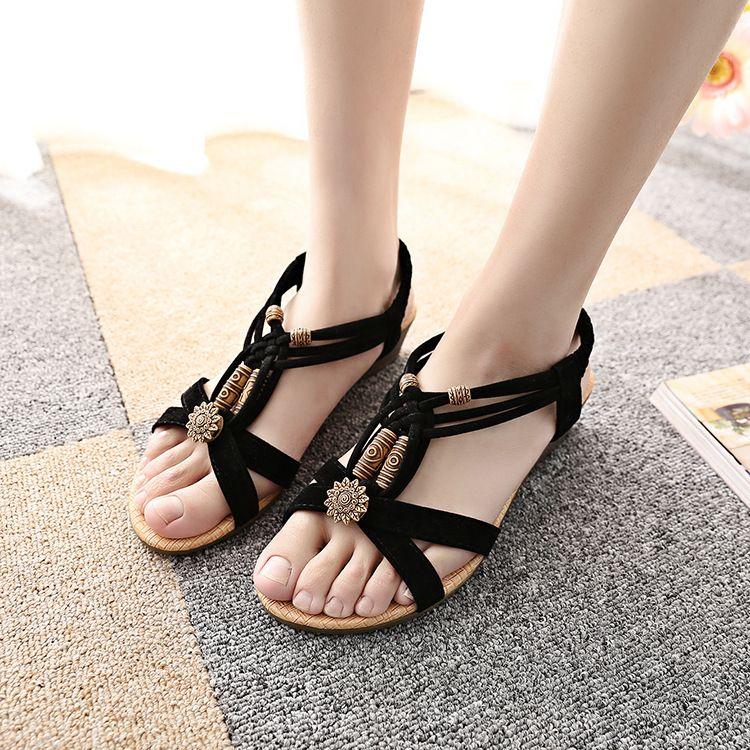 4c551fa3a6f Wedges Sandals Summer Women Shoes Ladies Flat Sandals Middle Heels ...