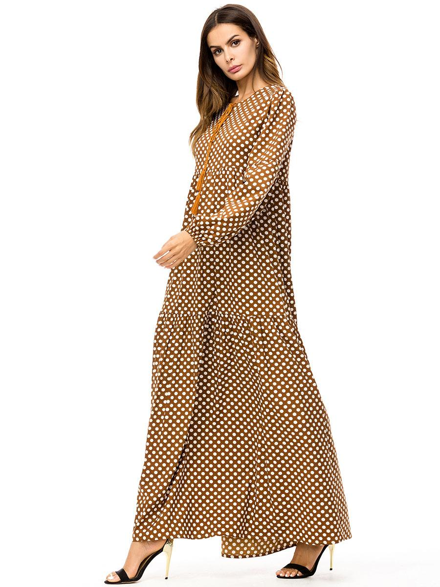 2a23d1f5cd 187279 Dubai Fashion Kaftans Women's Autumn New Plus Size Euramerica Baju  Muslim Wave Point Long Large Loose Dress Isulusulu Ni Marama Vaka