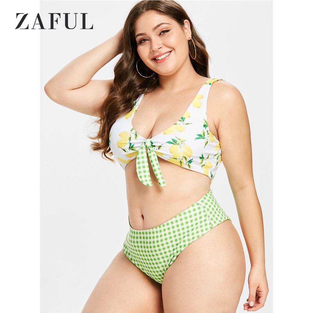 4d0989fd9f145 2019 ZAFUL Plus Size Knotted Lemon Plaid Bikini Set Plus Size Swimwear  Women Swimsuit Tie Knot Padded Bathing Suit Biquni From Blairi