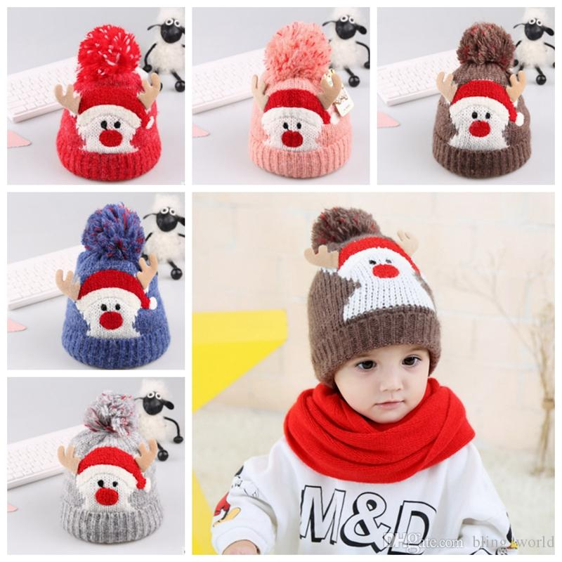 Christmas Kids Hat Knitted Santa Beanies Hats Crochet Pom Caps Winter Warm  Baby Hats Christmas Headwear 5 Designs YW1628 Silly Hats Silly Party Hats  From ... e9fa225f8d7