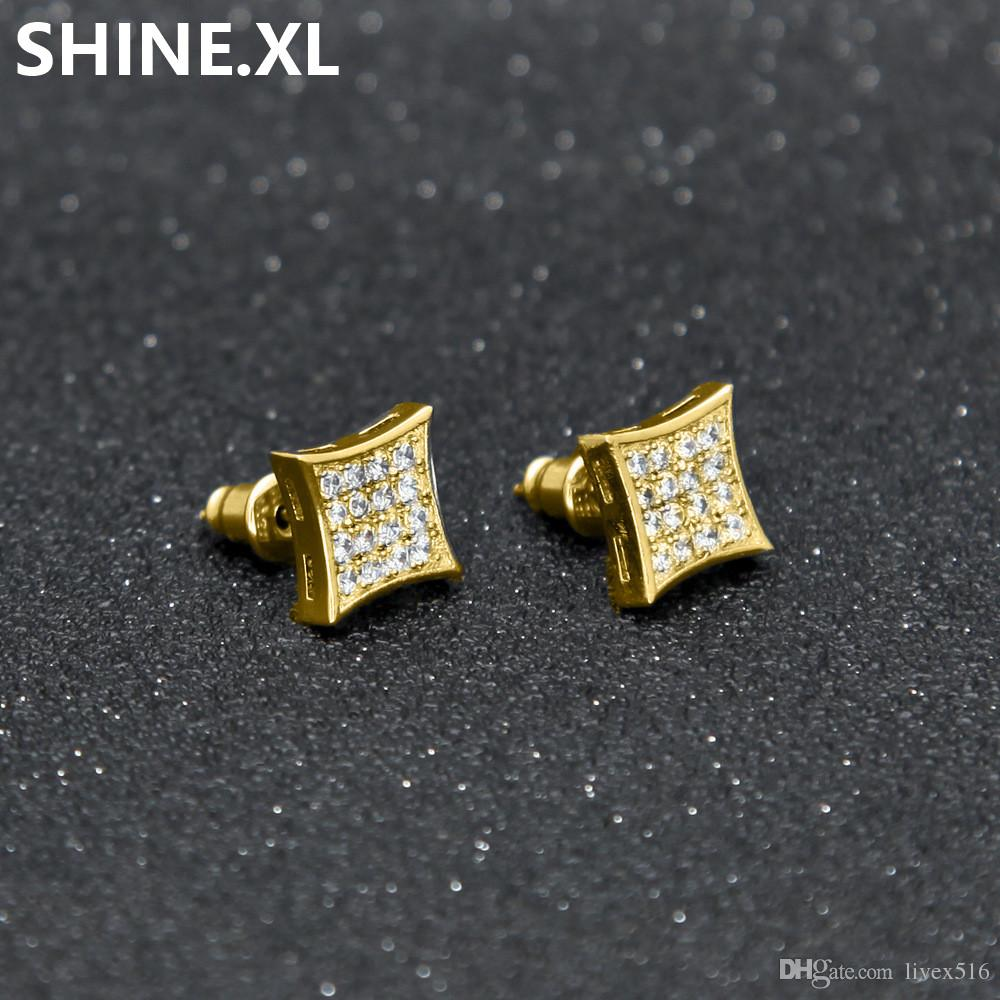 ff1810a05 2019 Hip Hop ICED OUT Bling Mens Boy Jewelry Gold Black Color Kite Square  Shape Simple Micro Pave CZ Screw Back Earring From Livex516, $6.04 |  DHgate.Com