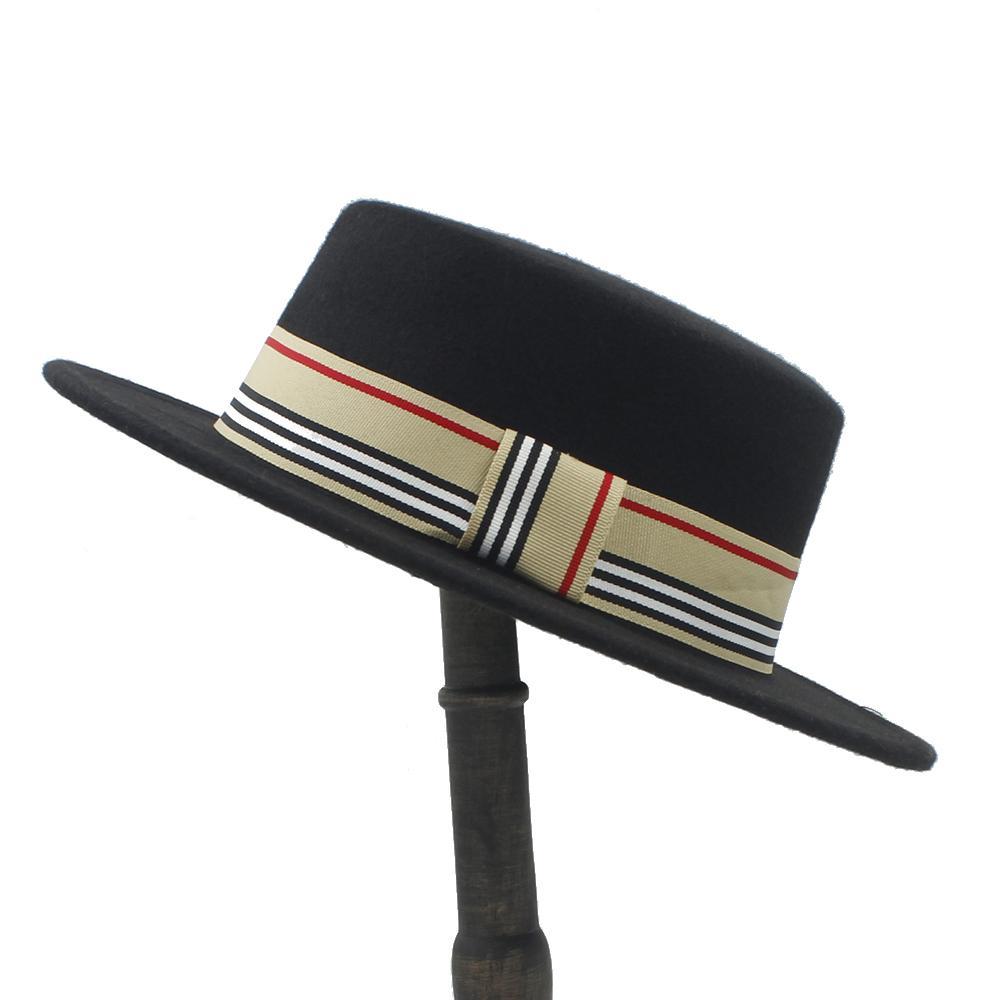 1c05bb9e639410 2019 Women Men Wool Flat Homburg Fedora Hat Lady Gentleman Winter Autum  Jazz Boater Panama Top Caps Good Package Size 56 58CM From Fashionable16,  ...