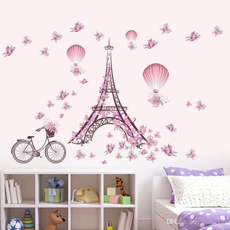 Wholesale DIY Paris Tower Pink Cute Butterflies Art Decor Home Bedroom Living Room Background Waterproof Wall Stickers Wallpaper 39x26""