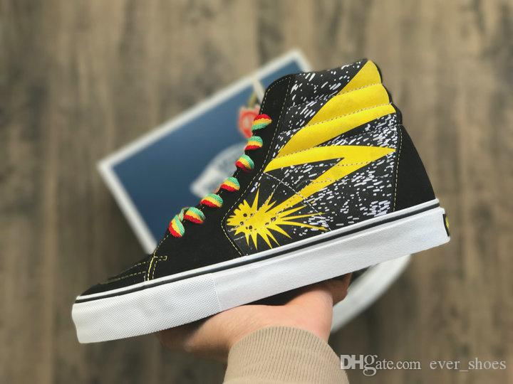 2018 Fashion Vault X Bad Brains Classic Sk8 Hi LX Old Skool Casual Canvas  Running Shoes Women Men Black Yellow Designer Sneakers Winter Running Shoes  White ... 0ed6a064f314
