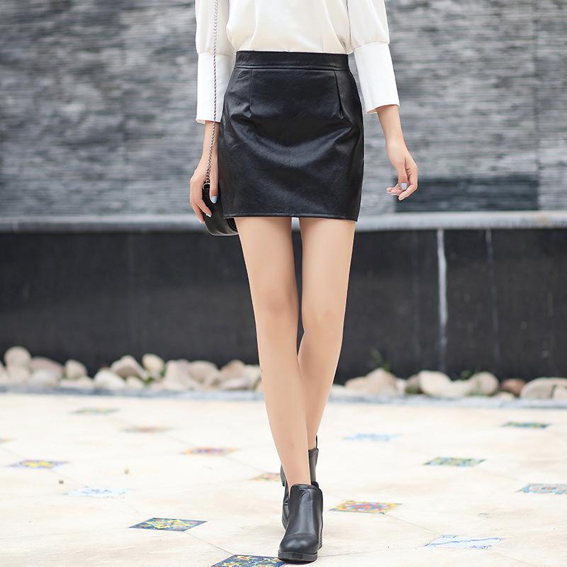 02c0b9235bf71b 2018 femmes fausse jupes en cuir taille haute jupe crayon de partie mince  offical Lady noir mini jupe courte sexy taille haute en cuir PU