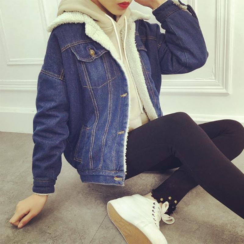 a8b72e0f8af8 Winter Jacket Women 2018 Casual Denim Jacket Long Sleeve Cotton Sherpa  Lined Warm Jeans Coat Outwear Jaqueta Feminina Plus Size Womens Leather  Bomber Jacket ...