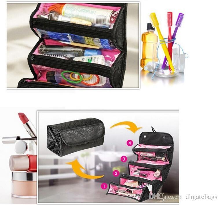 ROLL-N-GO Pflege Travel Kit Schmuck Organizer-kosmetischen Fall faltbare bilden kosmetische Beutel-Kasten-Kästen Frauen Make-up Bag Hanging