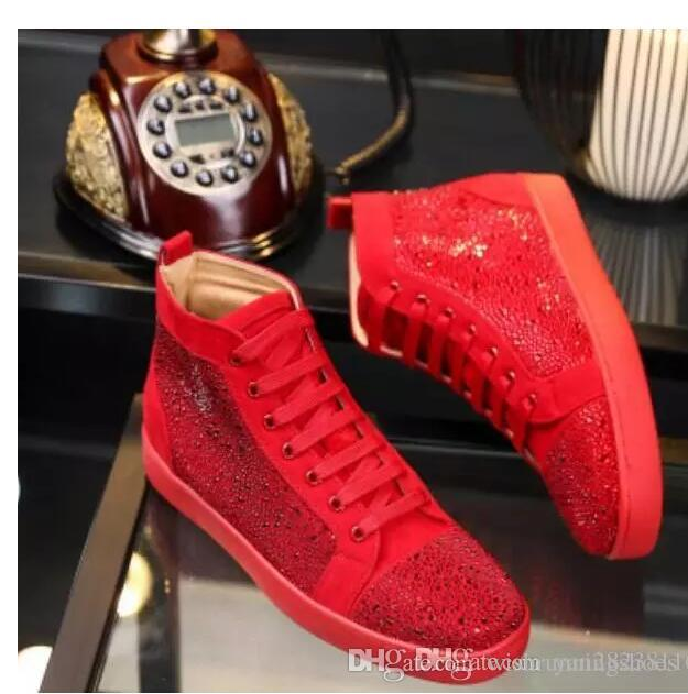 e82a562d715 Special Offer 2017 Suede   Black Rhinestone Strass Red Bottom Shoes Men  Women S Flat Red Sole Shoes High Top Sneaker Lace Up Casual Shoes Oxford  Shoes ...