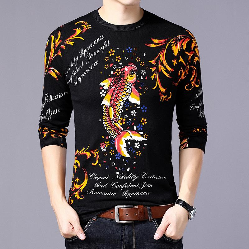 d737a9fba 2019 3D Fish Floral Pattern Exquisite Printing Fashion Pullover Knit Sweater  Autumn 2018 High Quality Cotton Soft Elastic Sweater Men From Luzhenbao521