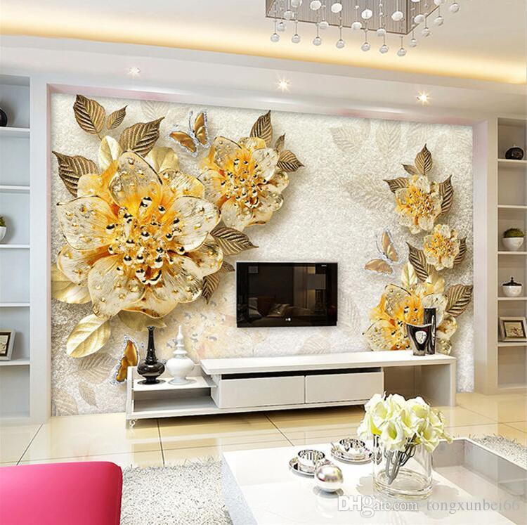 European Inspired Home Decor: 3D Wallpaper European Style Golden Diamond Flower Jewelry