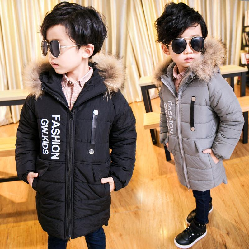 476de31dd 4-15Y Toddler Teenager boys coats and jackets autumn winter boys cool  letters hooded coat thick cotton warmer kids children coat