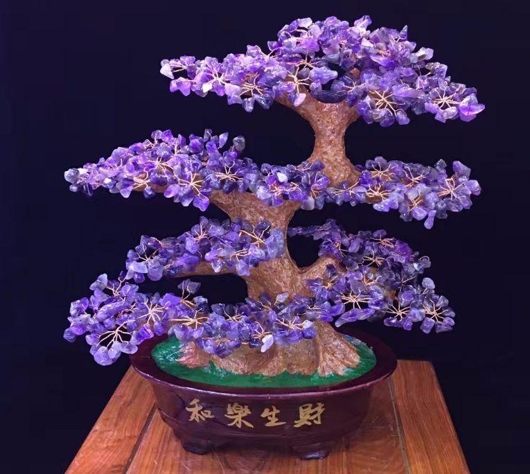2020 Tall Natural Crystal Lucky Money Tree Amethyst Aventurine Citrine Rose Quartz Figurine Feng