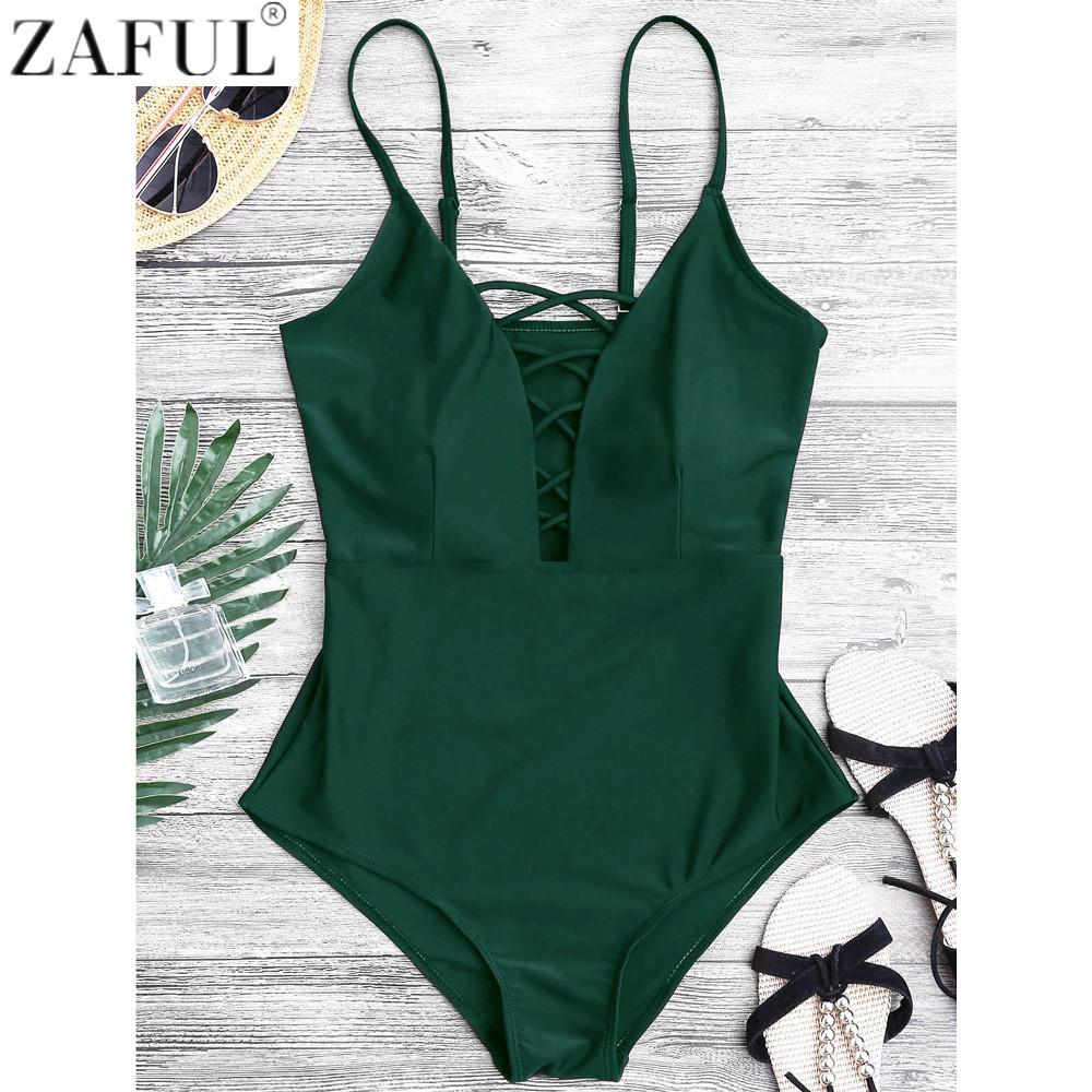 47e145d205a83 2019 ZAFUL Women Sexy Crisscross Plunge One Piece Swimwear Backless  Monokini Swimsuit Bandage Bathing Suits Beachwear Swim Wear From Maoyili
