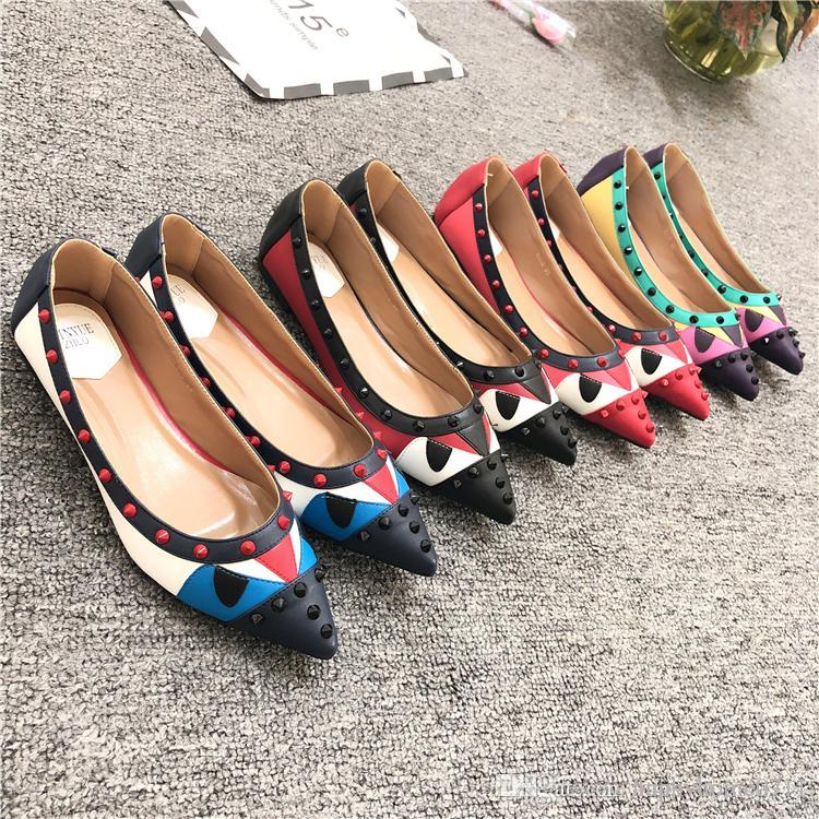 PartyCostumes Rivets Decoration Brand Shoes Flats Women Spring ... a258448dc328