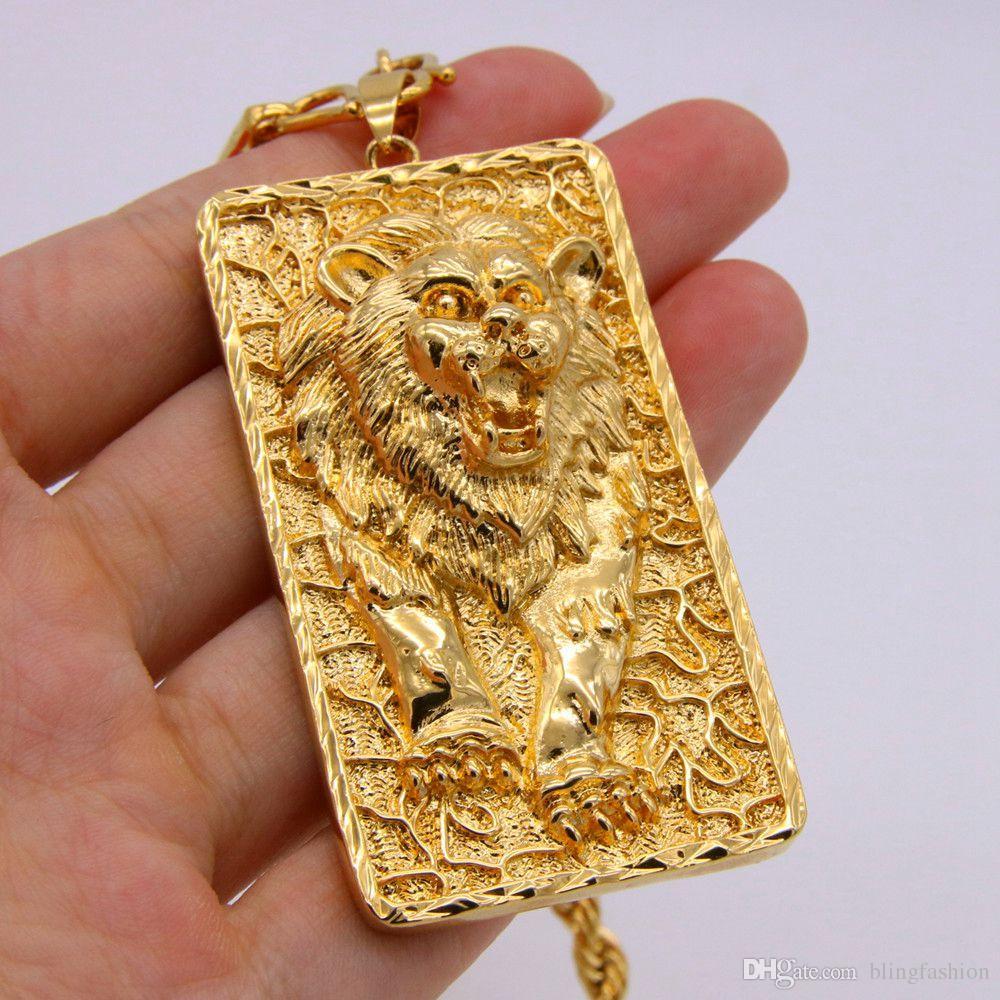 Большой Лев шаблон кулон веревка цепи ожерелье 18k желтое золото заполненные твердые мужские ювелирные изделия хип-хоп стиль