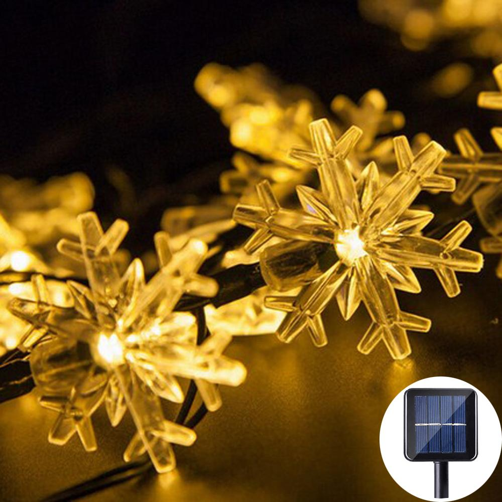 Crystal Snowflakel 30LED Solar String Light Outdoor Solar Lamp Fairy ...