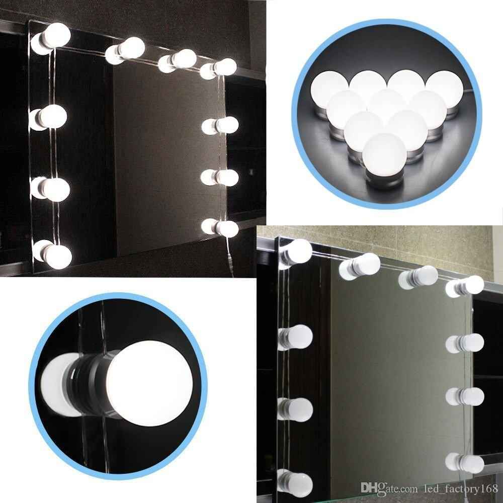 Hollywood LED Vanity Light 6500K White Makeup Mirror Light with Power Adapter and Dimmer Support Stepless Dimmable for Makeup Dressing Table