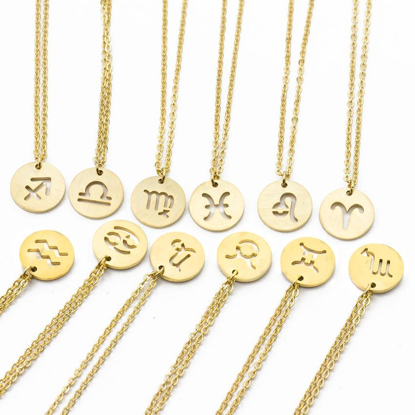 Leo Constellation Femmes Zodiac Colliers Gémeaux Pendentif Souvenir Collier Bijoux Céleste Taureau Femme Vierge w8OknXNP0