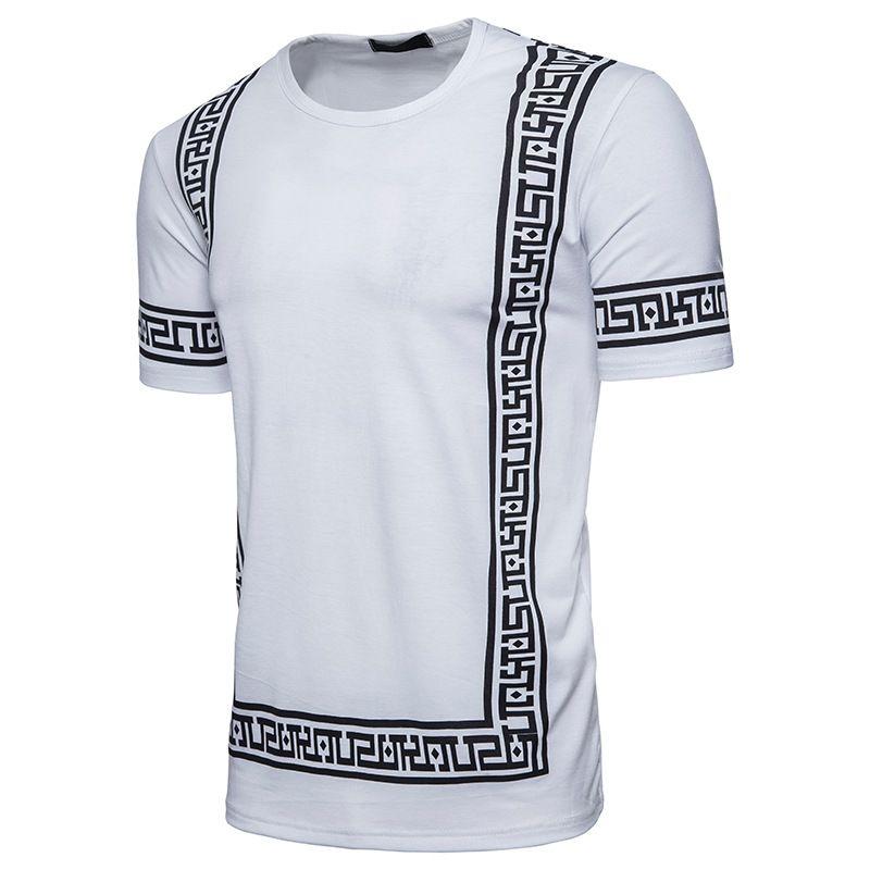 Роскошный шаблон дизайна мужчины футболки лето Homme хлопок круглый вырез тройники с короткими рукавами черный белый цвет одежды