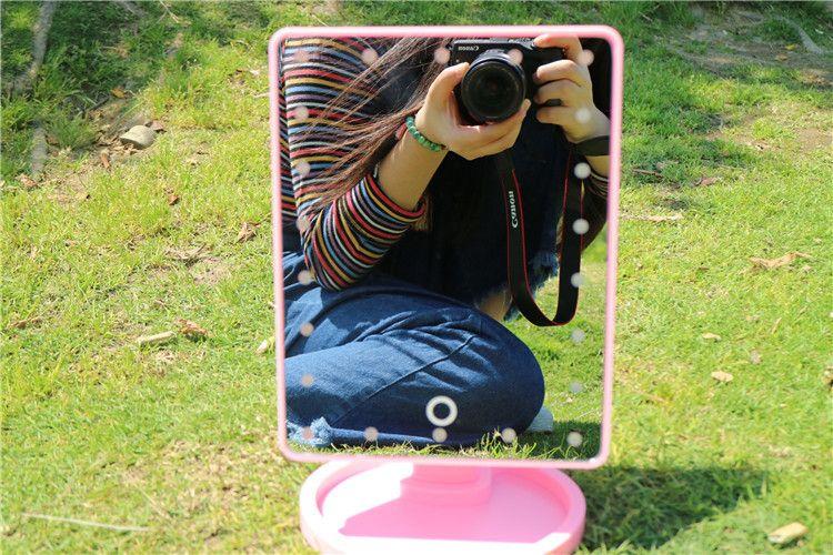 Desktop Make-up Led Mirror 360 Degree Rotation Cosmetic Mirror 22 Led Large Desktop Makeup Mirrors Black White Pink 27*17*15.8cm