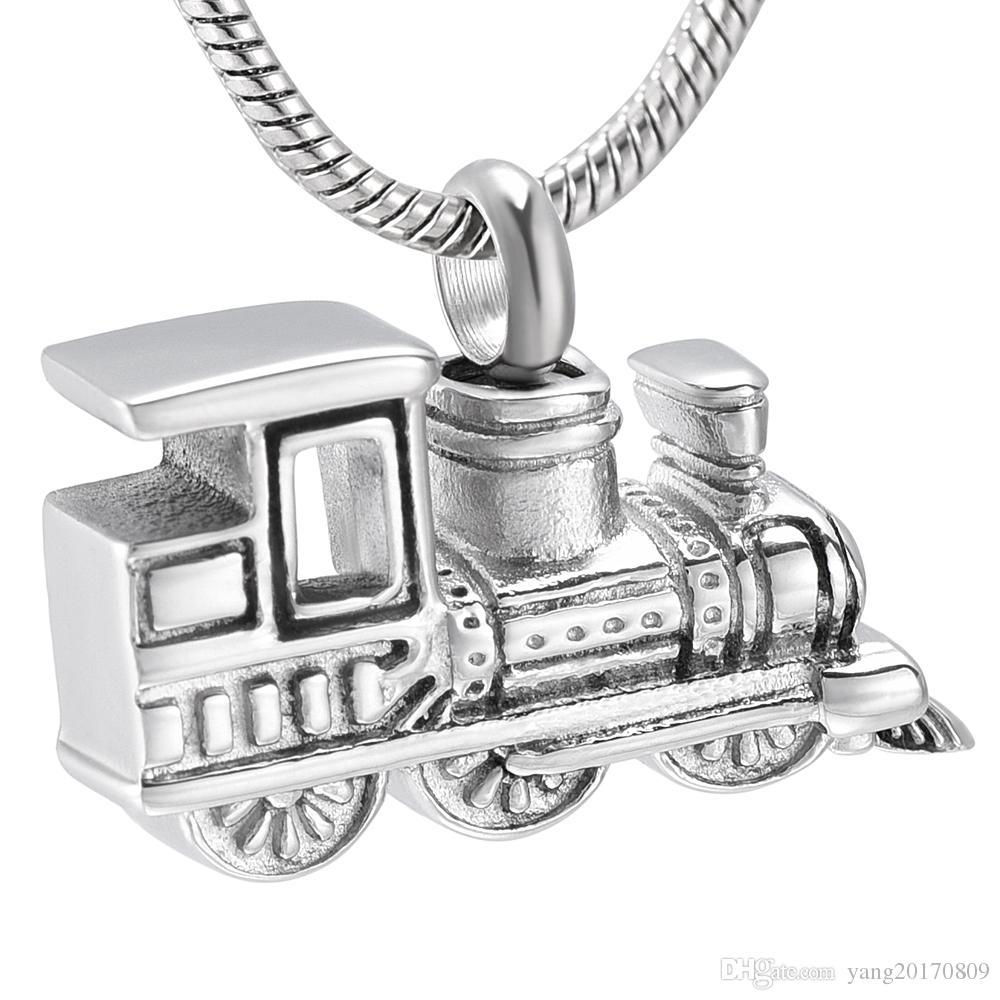 IJD10001 شخصية البسيطة قطار التذكار جرة قلادة الفولاذ المقاوم للصدأ الحرق التذكاري للحيوانات الاليفة رماد الإنسان حامل هدية مجوهرات