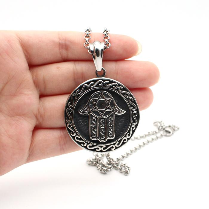 Hamsa Hand Fatima Pendant Men Necklace Stainless Steel Turkish Blue Evil Eye Amulet Charm Jewelry Lucky Eye Protector