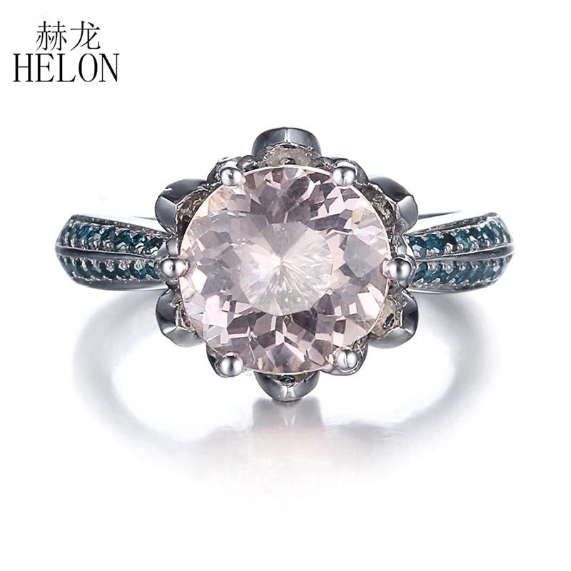 de0e5159f68f Compre HELON Pave SI   H Diamantes Azules Sólidos 10 K Oro Blanco 8mm Ronda  Rosa Morganite Lotus Anillo De Compromiso Fino Para Mujeres Joyería Fina A  ...